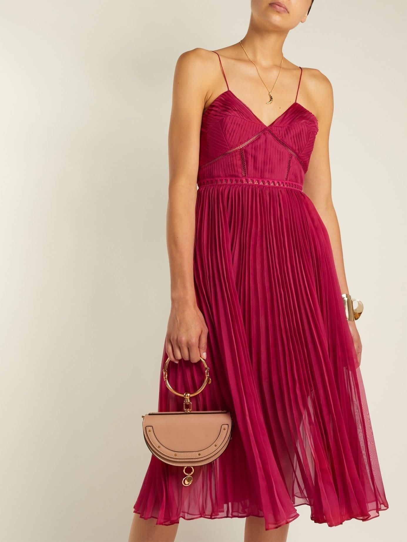 SELF-PORTRAIT Pleated Crepe Midi Dark Pink Dress