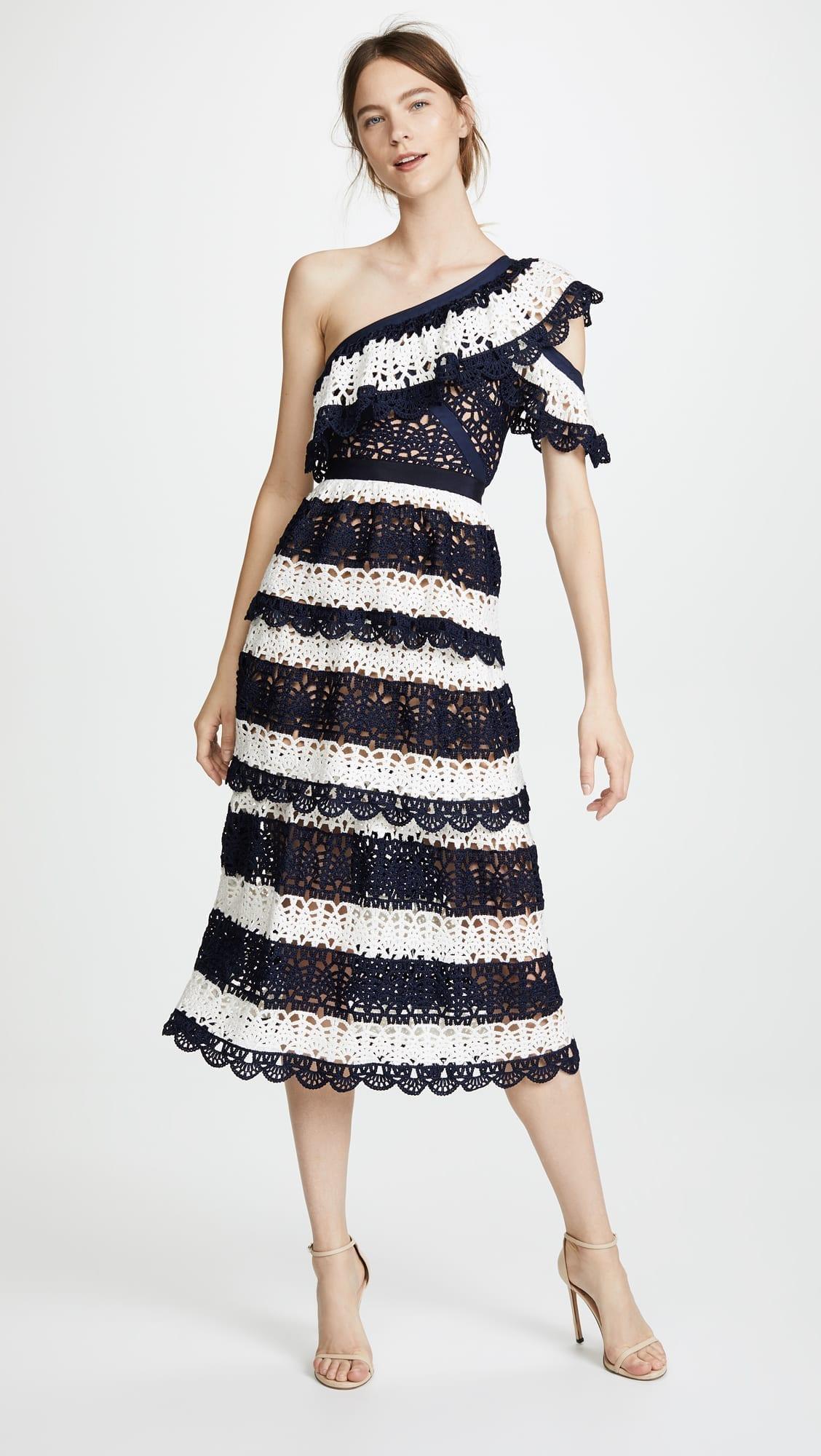 SELF PORTRAIT Striped Crochet Navy / White Dress