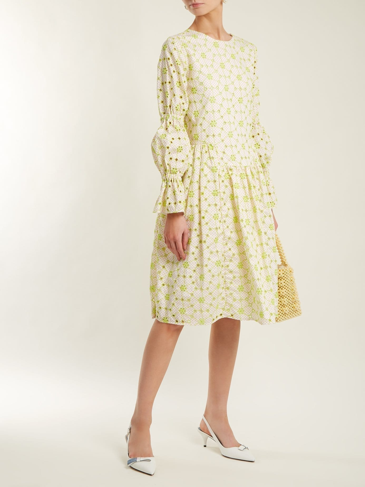 SHRIMPS Peggy Floral Embroidered Cotton Blend Lime Green Dress