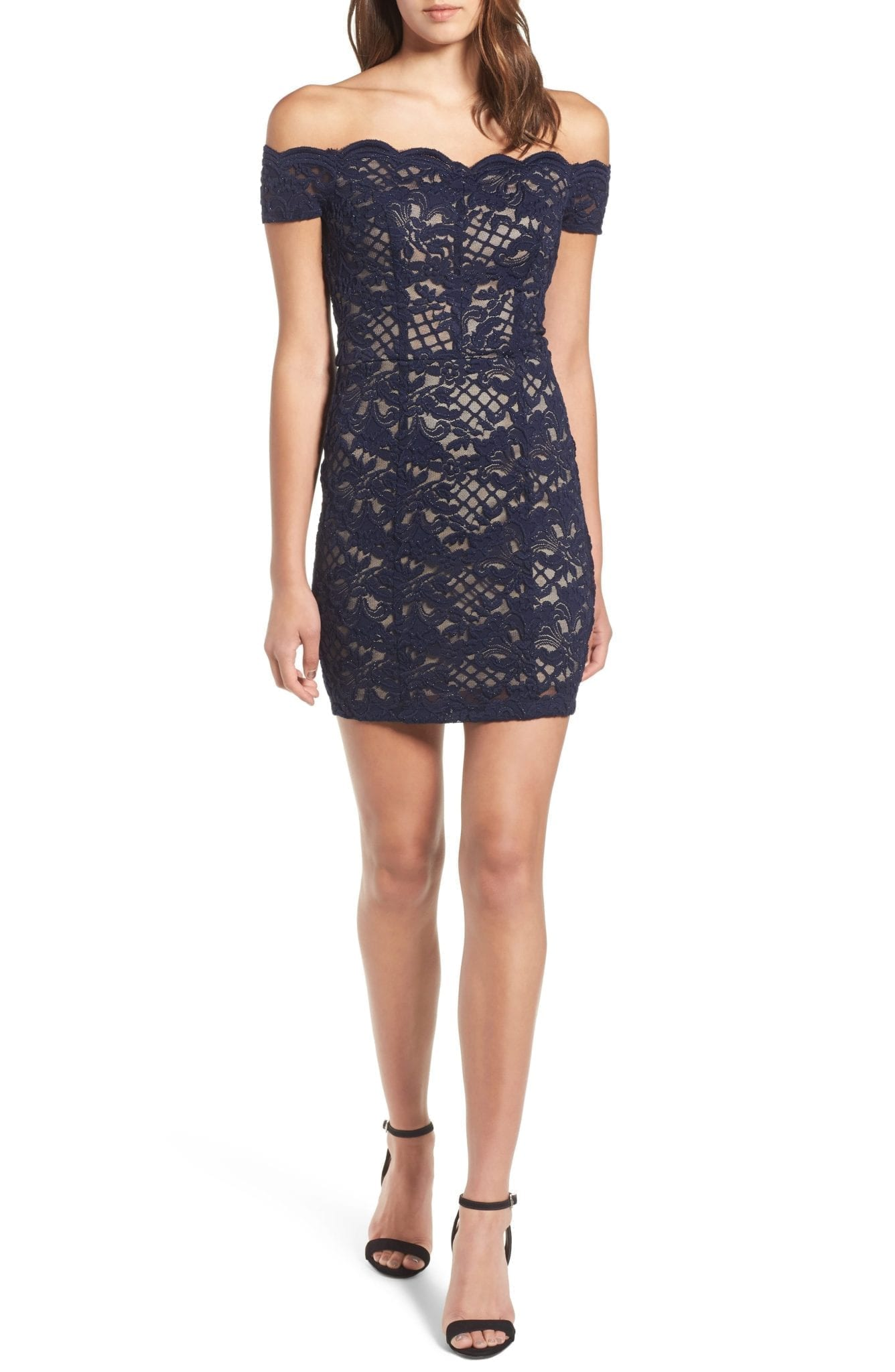 SPEECHLESS Lace Off the Shoulder Body-Con Navy / Taupe Dress