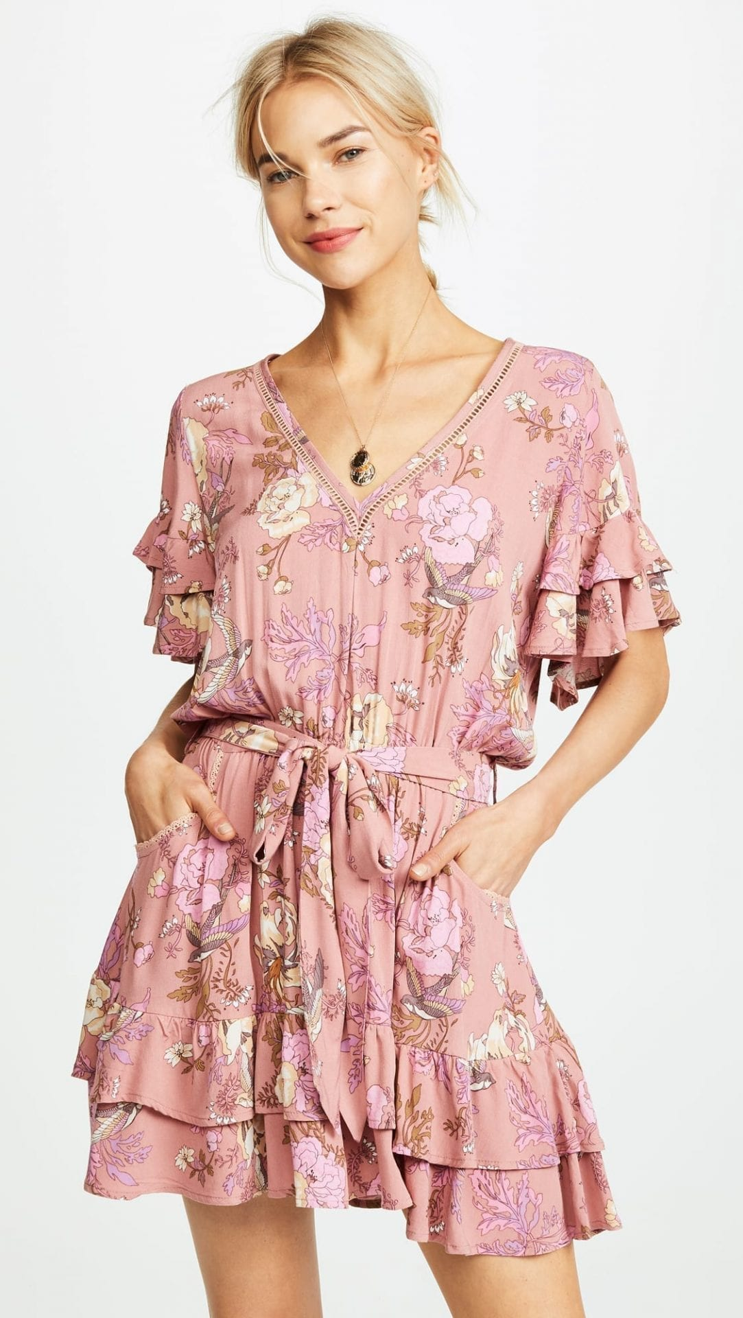 SPELL AND THE GYPSY COLLECTIVE Rosa Play Blush / Floral Printed Dress