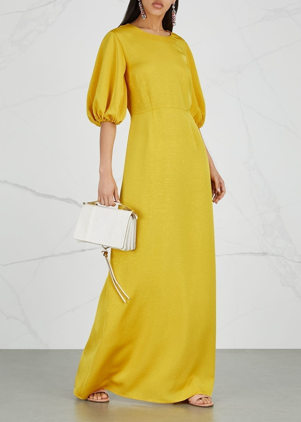 STINE GOYA Delia Ribbed Maxi Yellow Dress