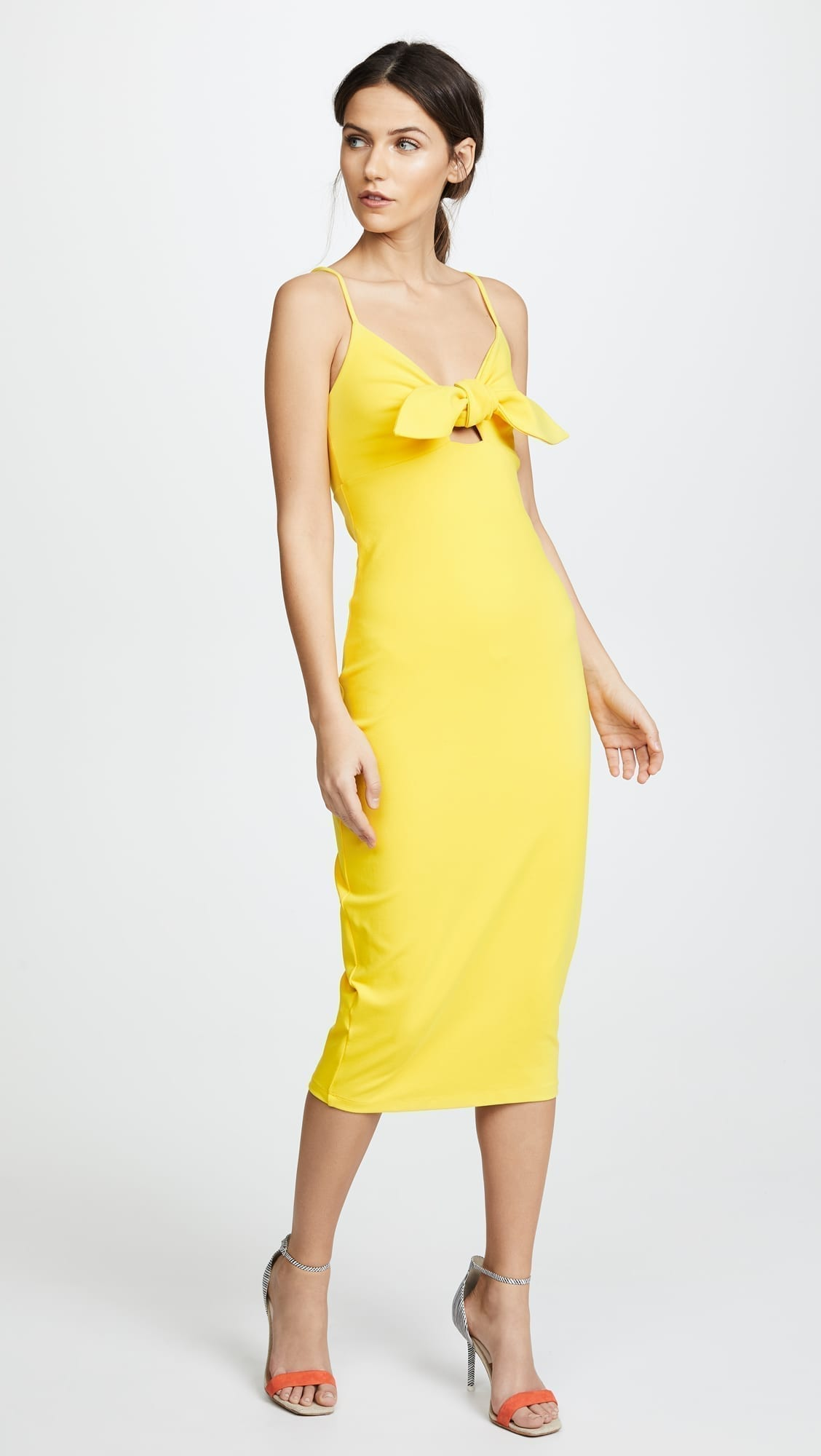 SUSANA MONACO Isadora Bow Detail Midi Limonata Dress