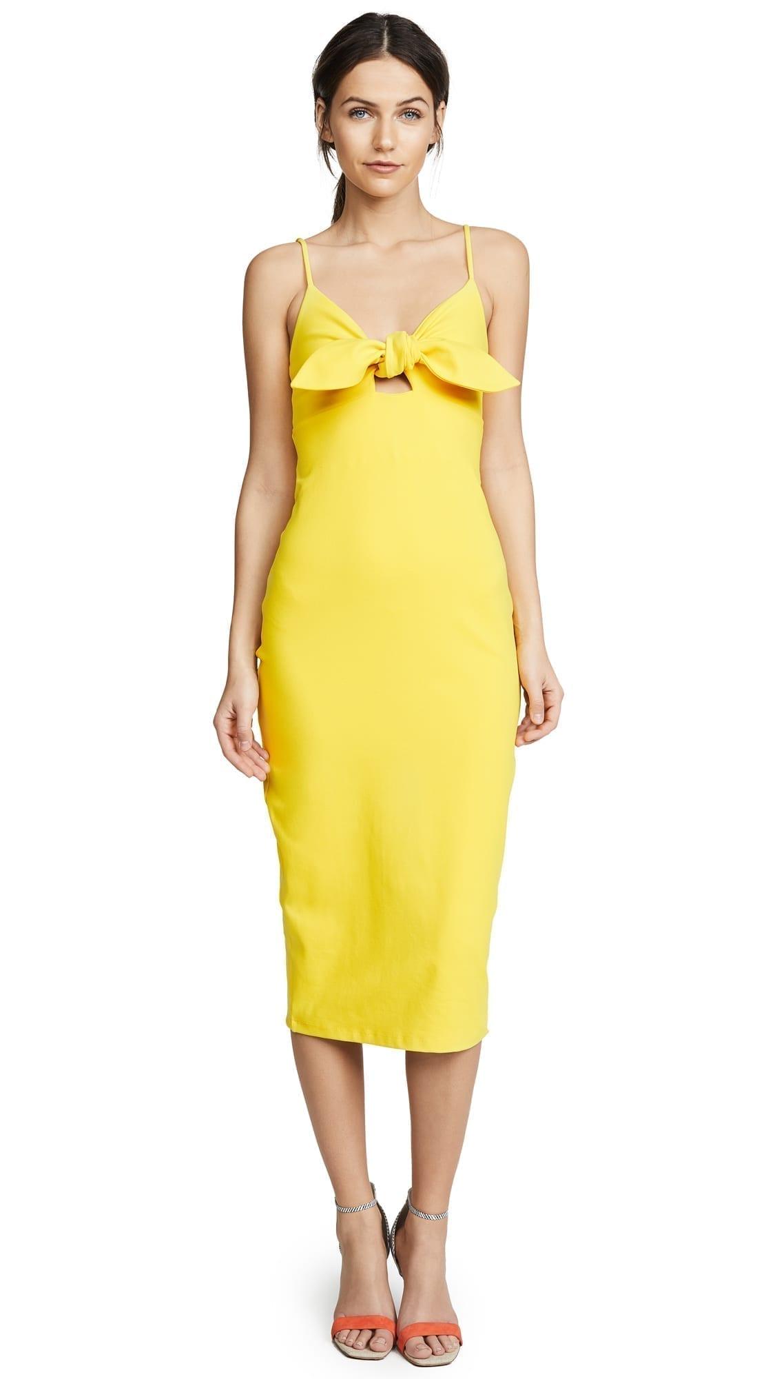 07a47dbea079 SUSANA MONACO Isadora Bow Detail Midi Limonata Dress - We Select Dresses