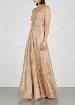 TALBOT RUNHOF Pokario Plissé Rose Gold Gown