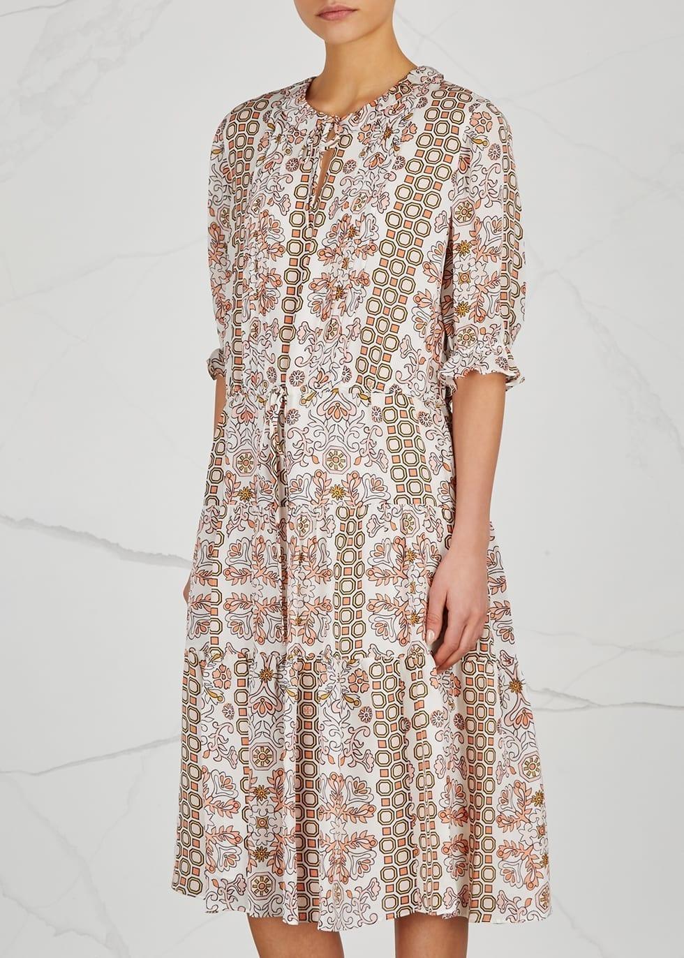 TORY BURCH Serena Silk Chiffon Ivory / Floral Printed Dress