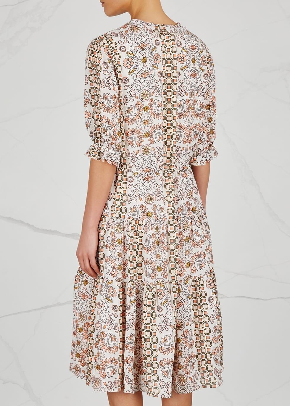 4910df7726526e TORY BURCH Serena Silk Chiffon Ivory   Floral Printed Dress - We ...