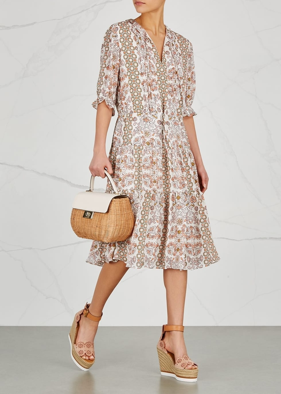 TORY BURCH Serena Silk Chiffon Ivory / Floral Printed Dress - We ...