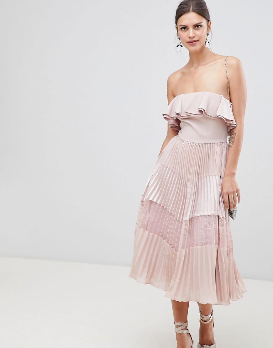 TRUE DECADENCE Ruffle Trim And Lace Insert Pleated Skirt With Sleeveless Dusty Pink Dress