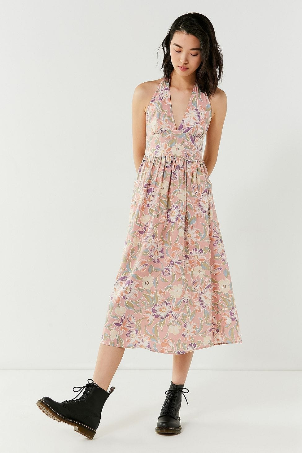 URBAN OUTFITTERS Betsey Jezebel Halter Midi Pink / Floral Printed Dress
