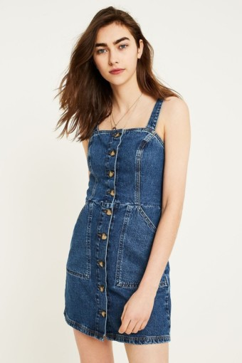 URBAN OUTFITTERS Denim Button-Through Pinafore Blue Dress