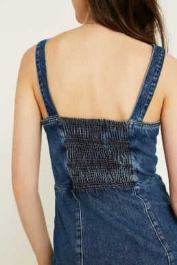 URBAN OUTFITTERS Denim Button-Through Pinafore Blue Dress