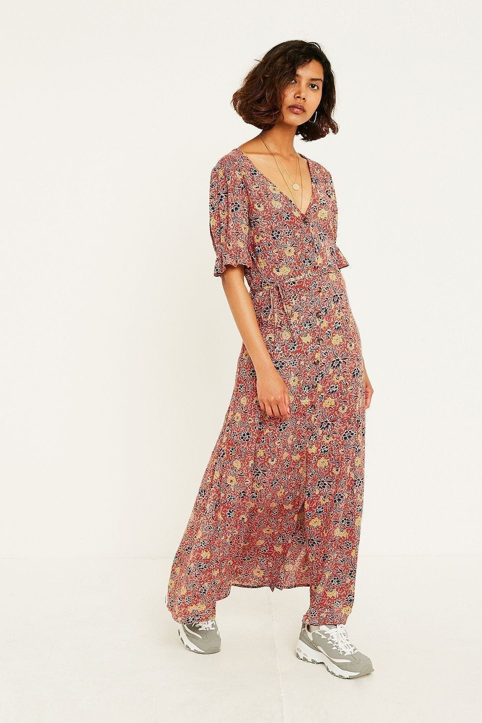 URBAN OUTFITTERS Ebony Floral Midaxi Maroon Dress