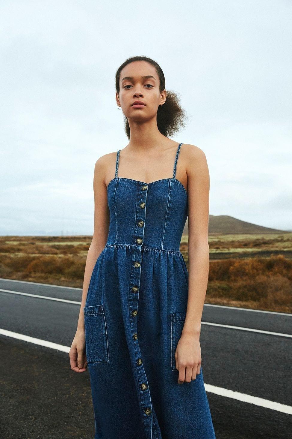 3d80cc9795 URBAN OUTFITTERS Emilia Denim Button-Through Midi Indigo Dress - We ...