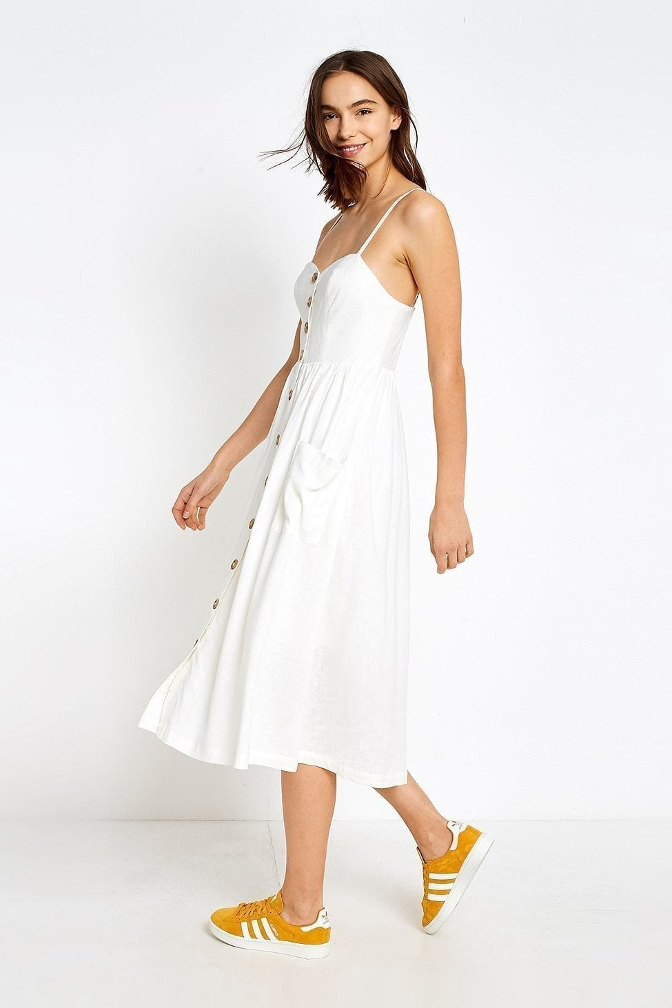 hot sale incredible prices special for shoe URBAN OUTFITTERS Emilia Button-Through Midi White Dress - We ...