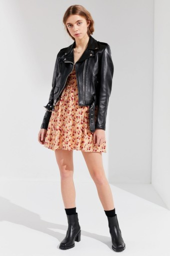 URBAN OUTFITTERS Evelyn Empire Waist Mini Pink Dress