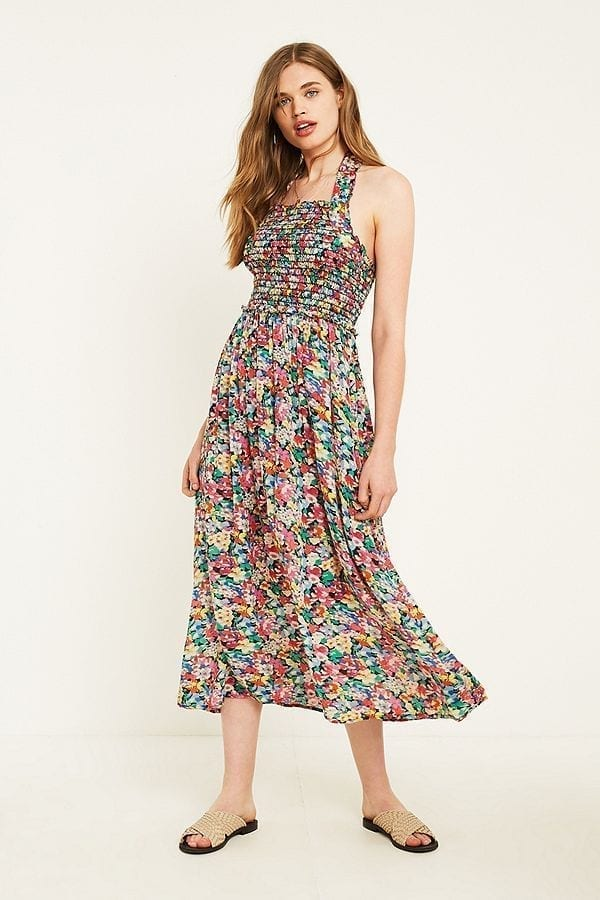 URBAN OUTFITTERS Floral Halter Neck Picnic Midi Pink Dress