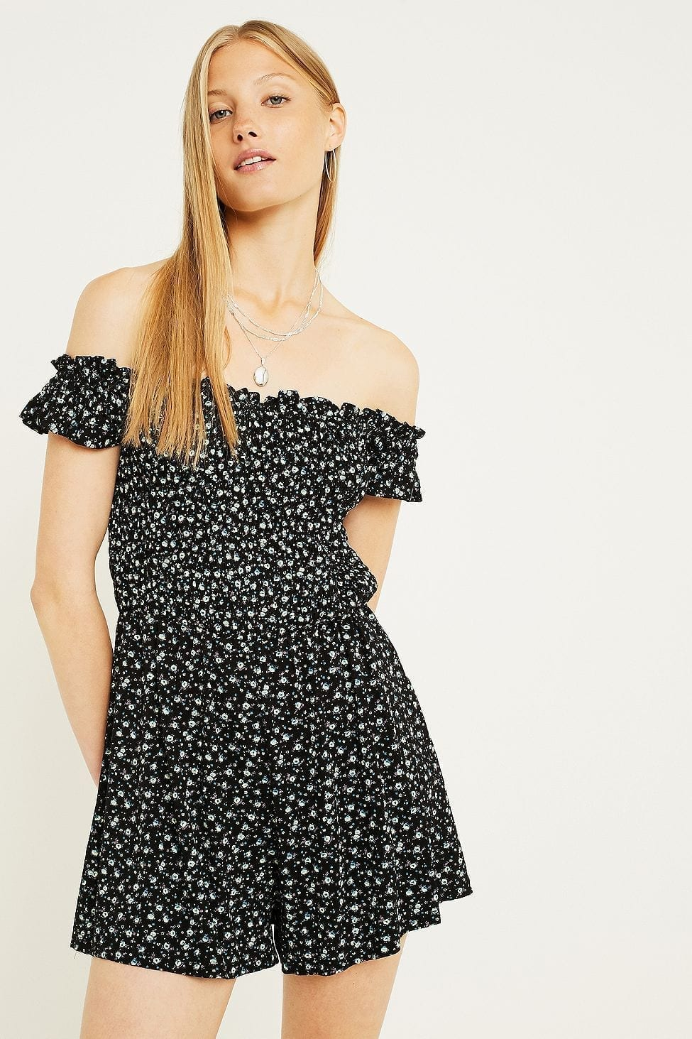 URBAN OUTFITTERS Floral Smocked Bardot Playsuit Black Dress