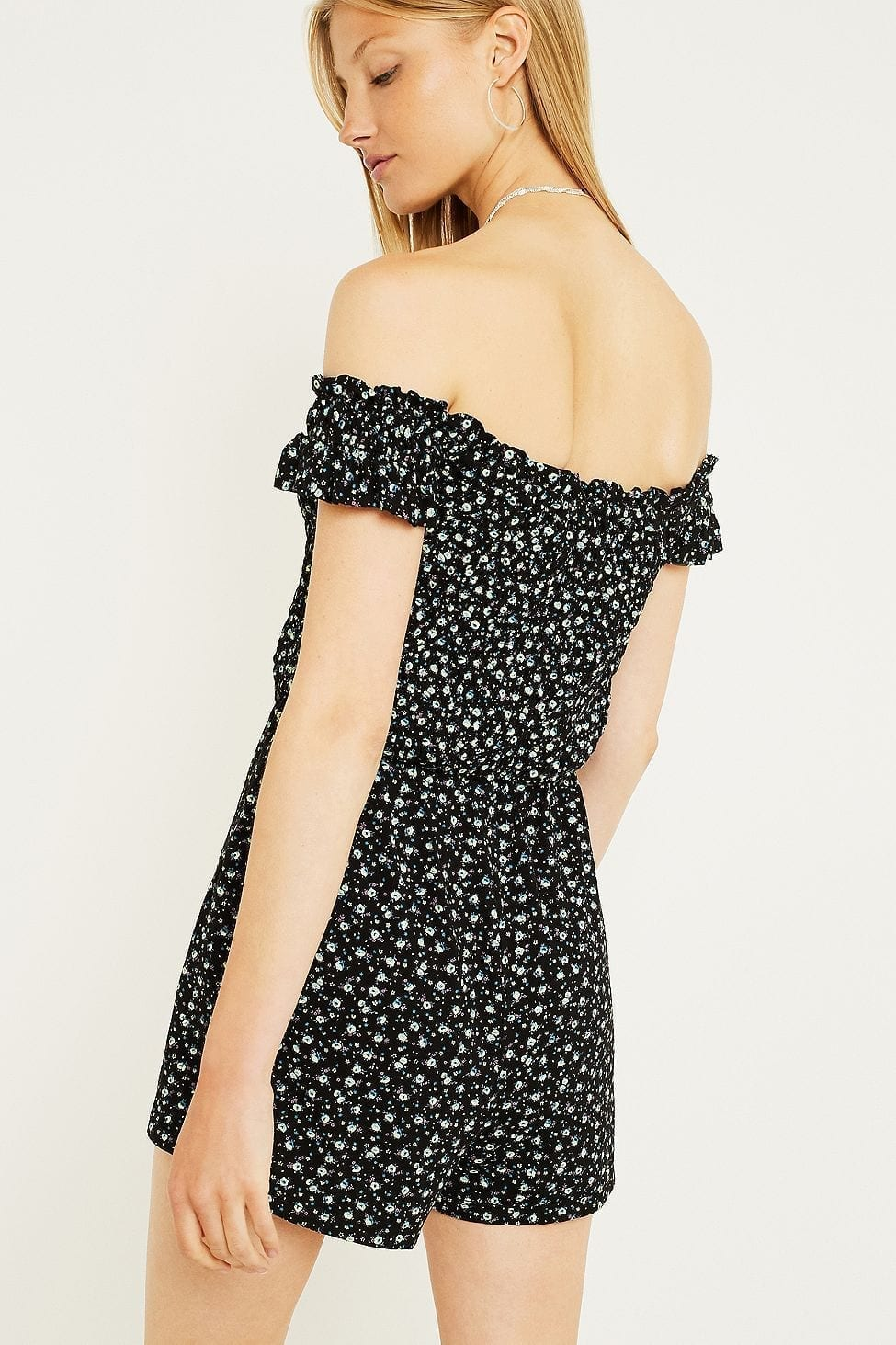 7061137140 URBAN OUTFITTERS Floral Smocked Bardot Playsuit Black Dress - We ...