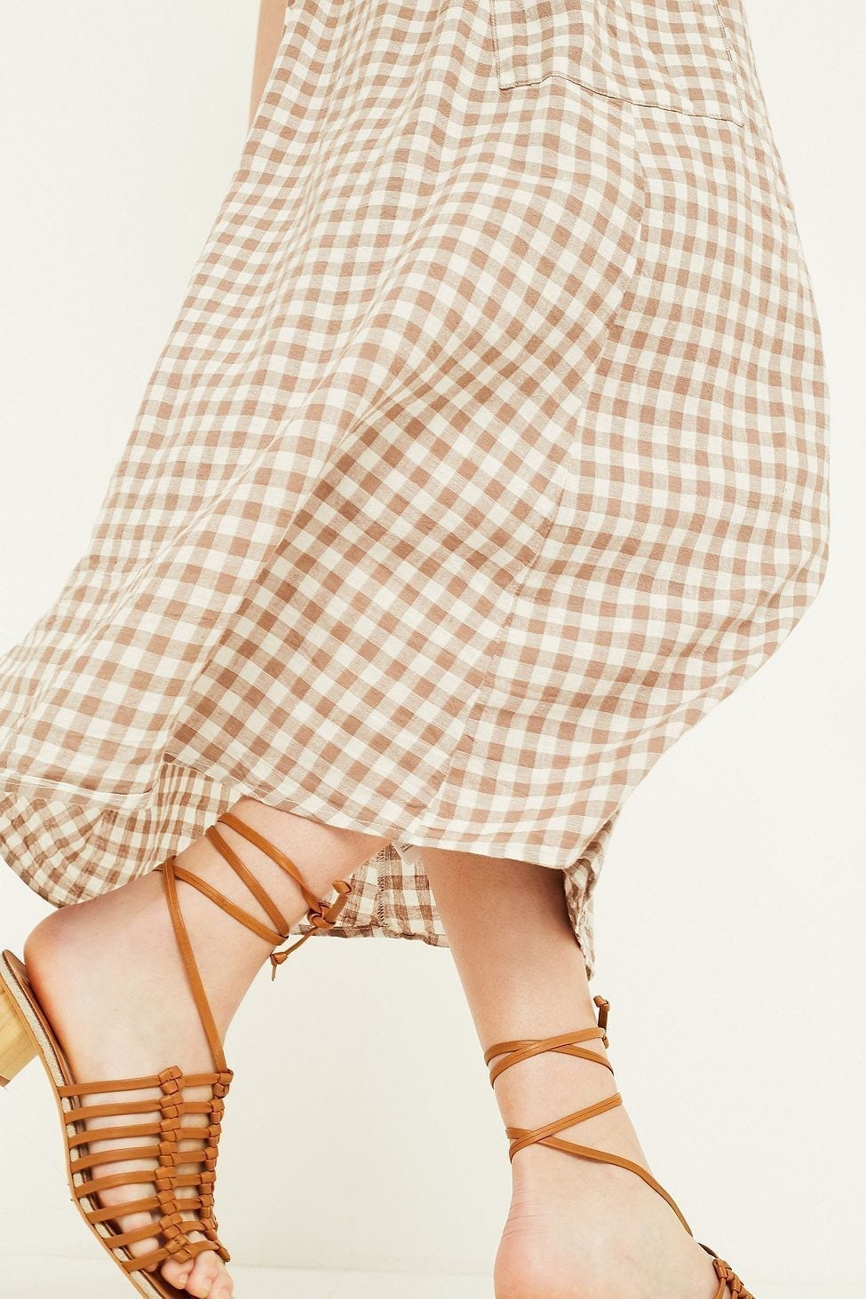 URBAN OUTFITTERS Linen Wrap Gingham Midi Beige Dress
