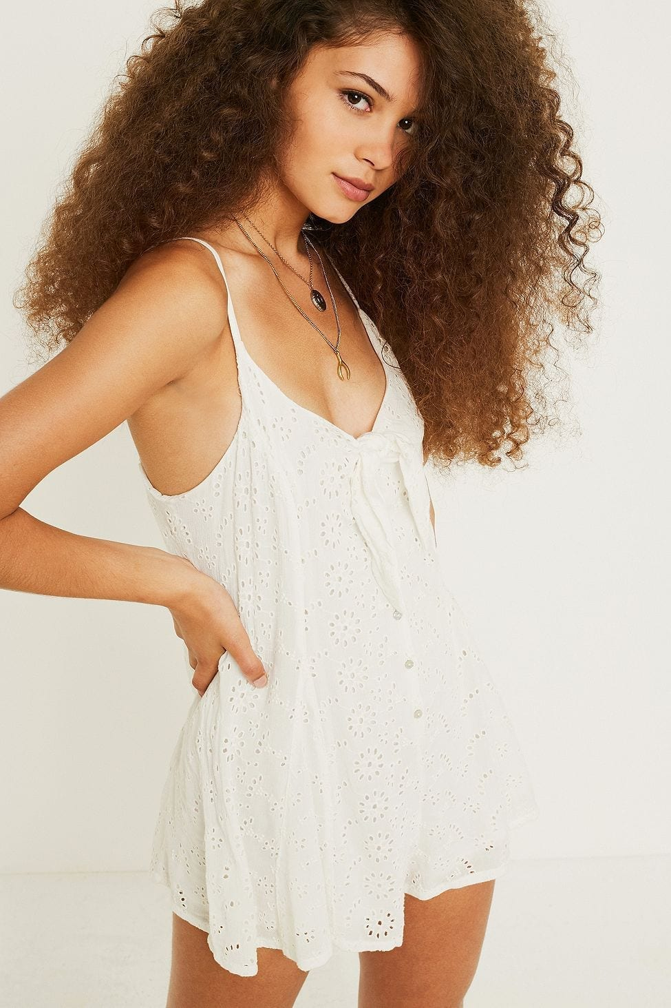 URBAN OUTFITTERS Nova Eyelet Tie-Front White Romper