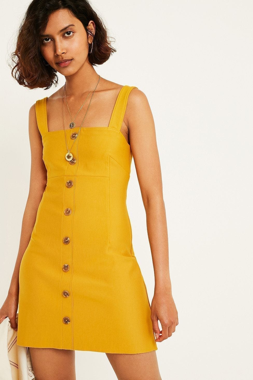 URBAN OUTFITTERS Sandy Button-Through Slip Yellow Dress