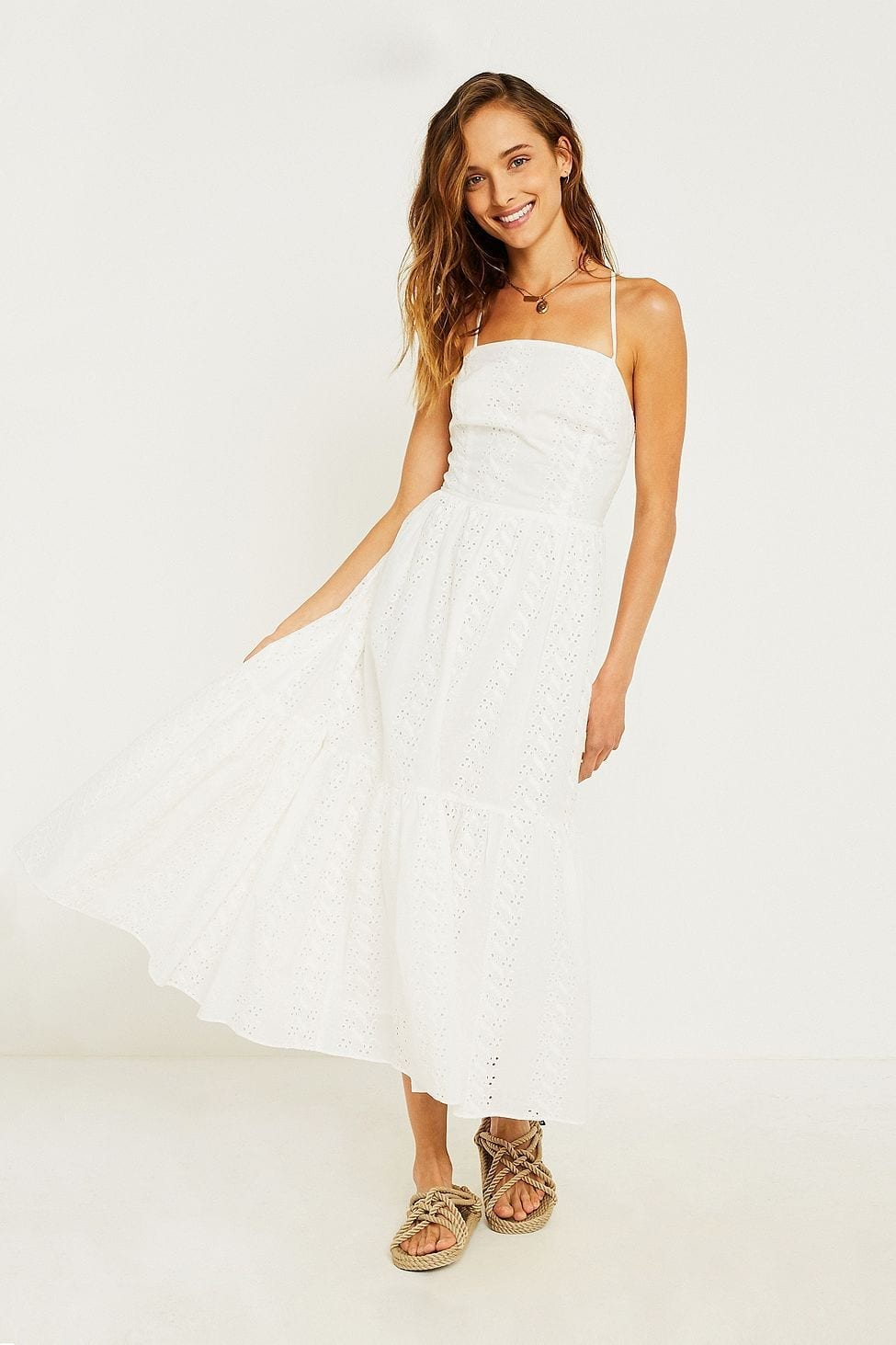 URBAN OUTFITTERS Sparks Fly Tiered Midi White Dress