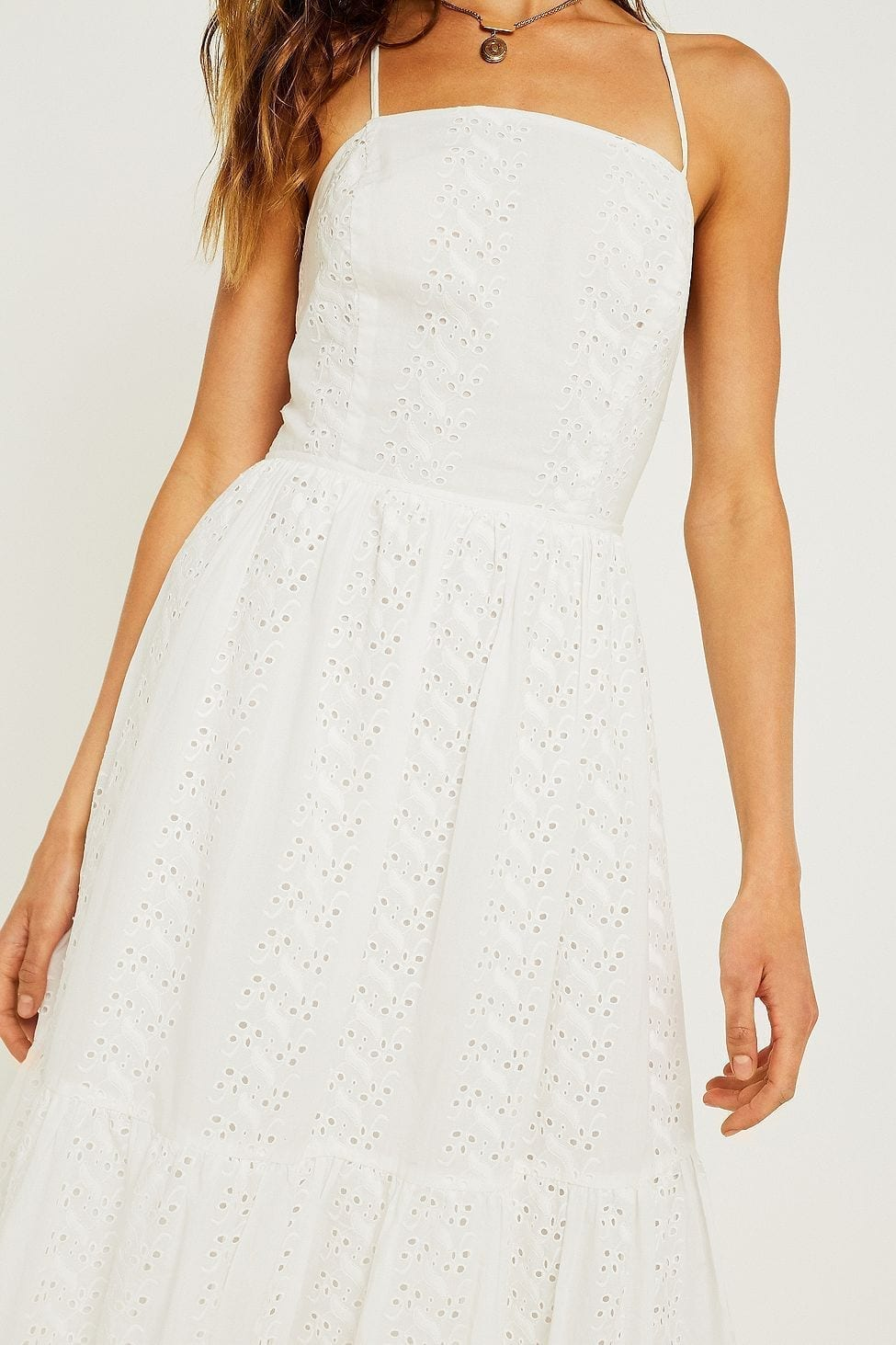 Urban Outfitters Sparks Fly Tiered Midi White Dress We