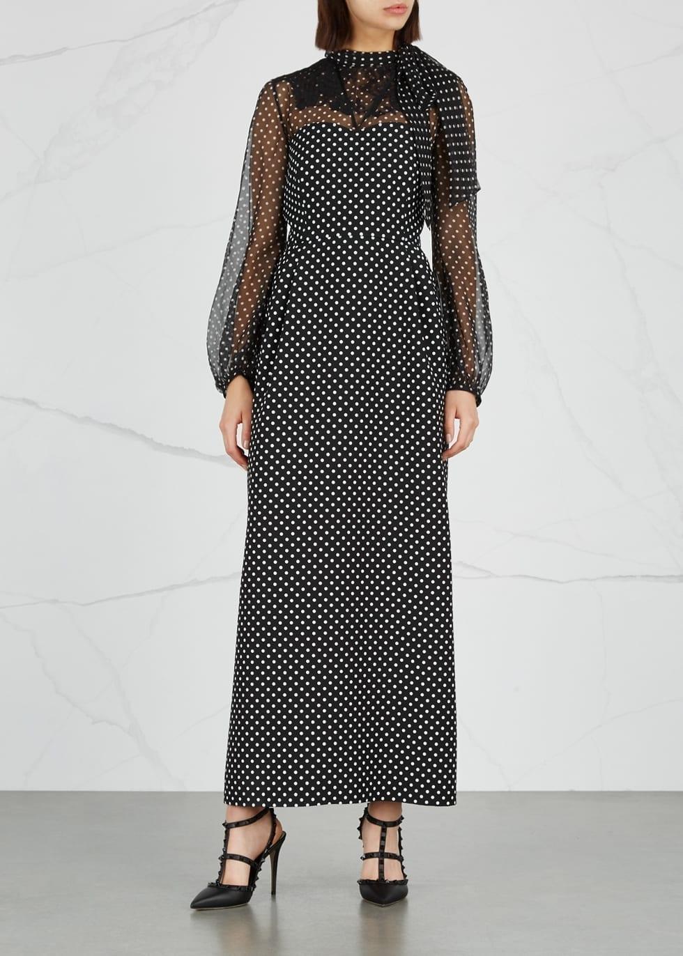 VALENTINO Polka Dot Chiffon And Wool Blend Black Dress