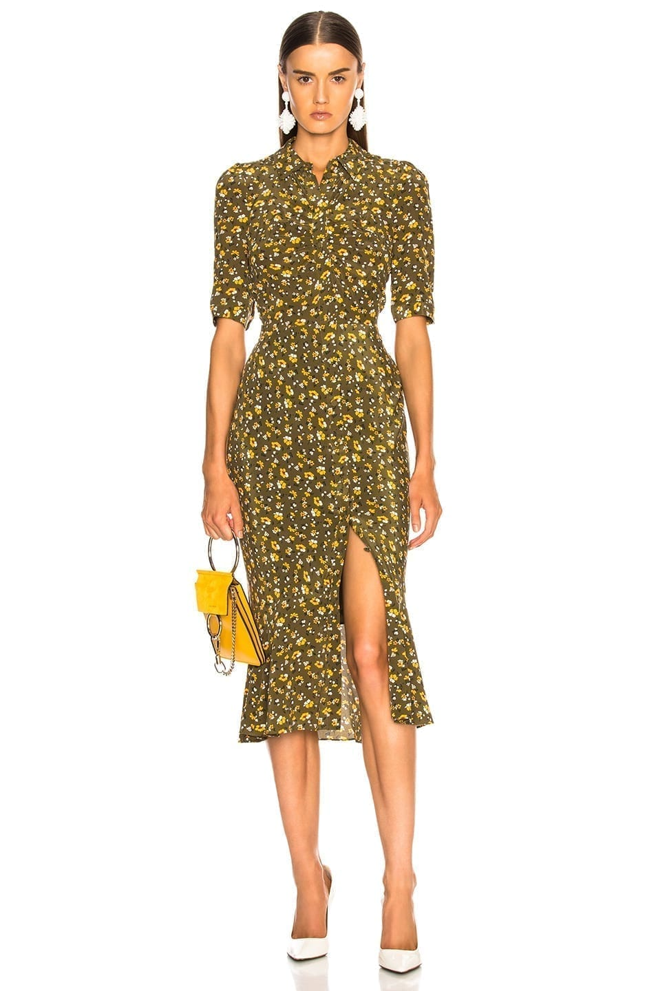 VERONICA BEARD Pike Army Green / Foloral Printed Dress