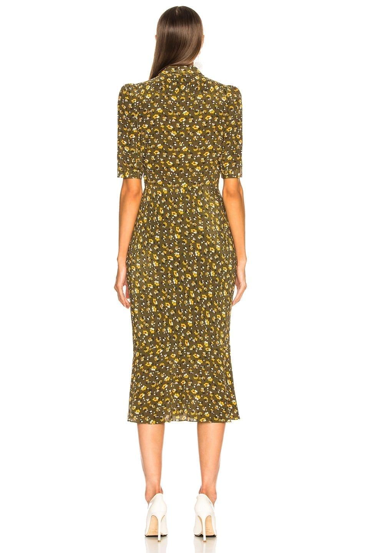 VERONICA BEARD Pike Army Green / Foloral Printed Dress