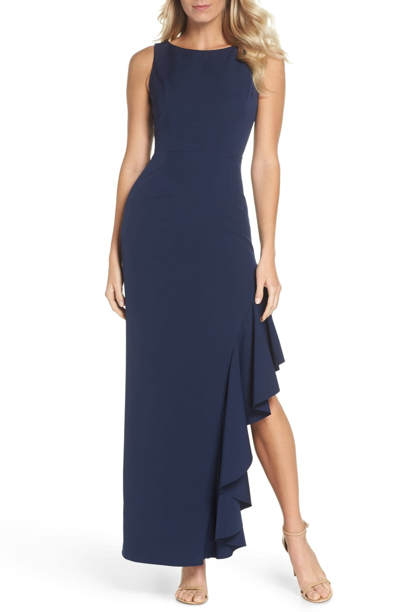 VINCE CAMUTO Ruffle Navy Gown