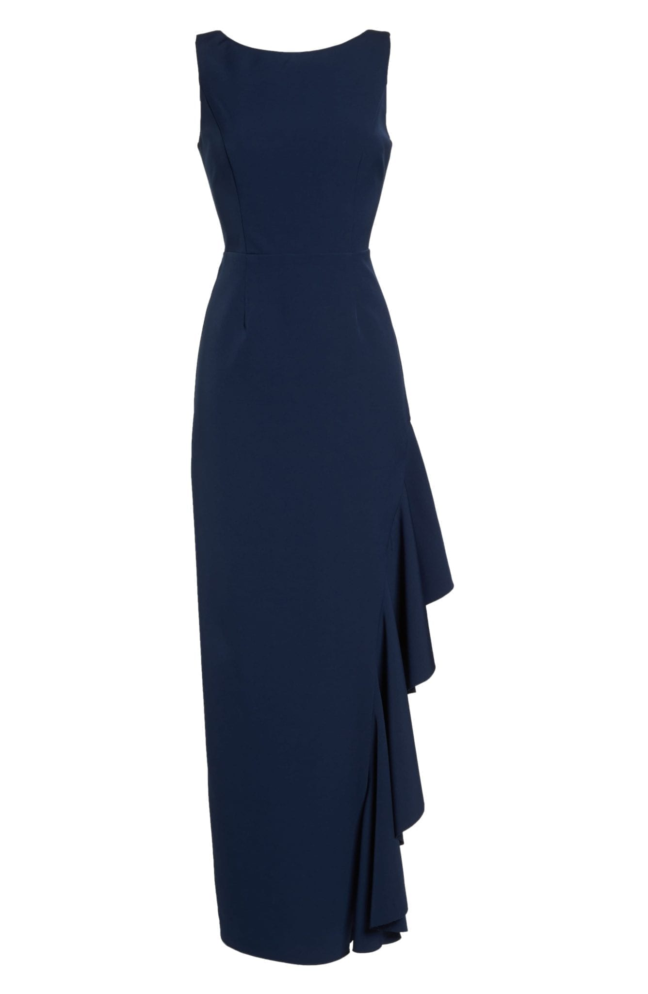 VINCE CAMUTO Ruffle Navy Gown - We Select Dresses