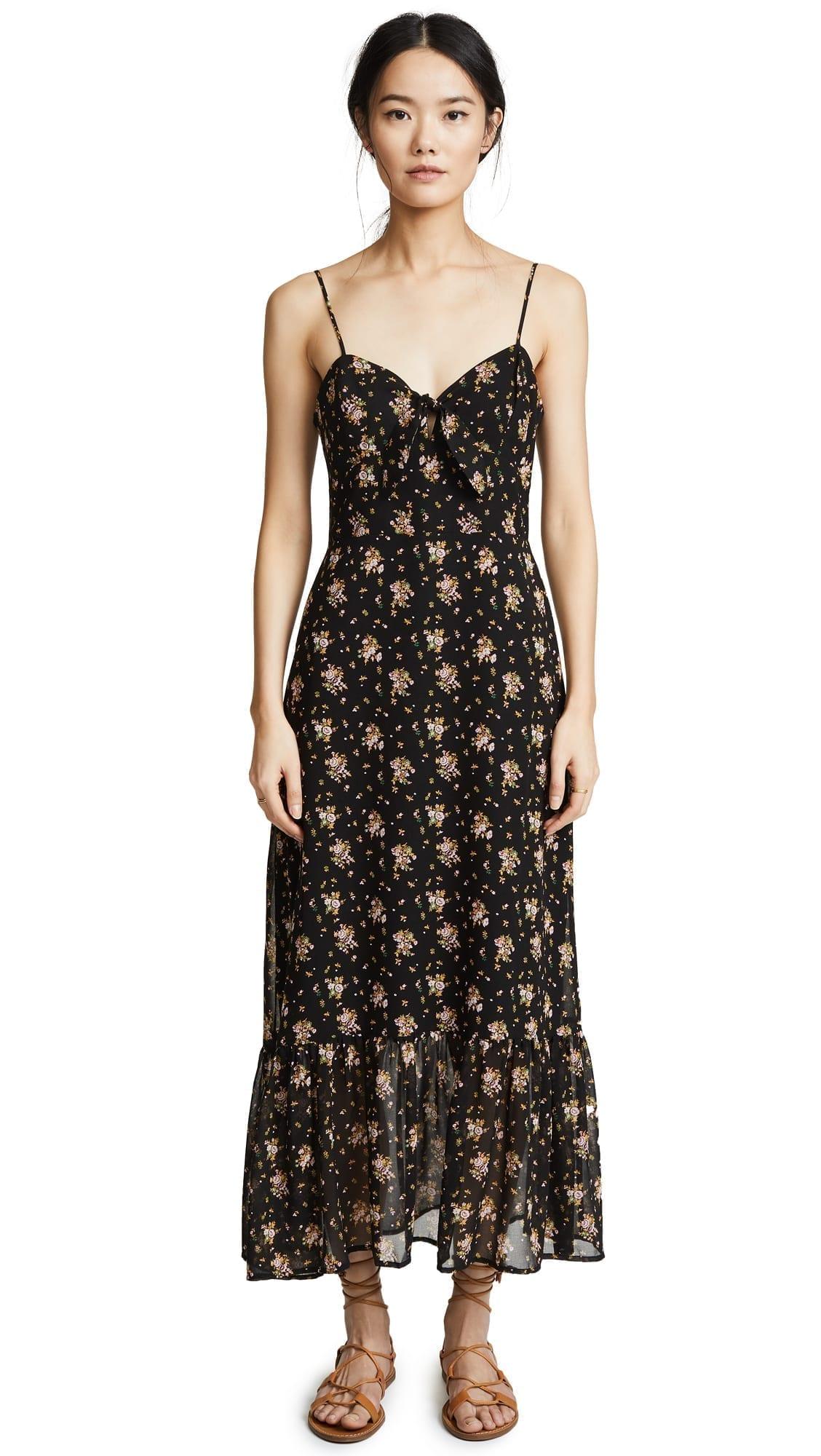 WAYF Massa Tie Knot Midi Black / Floral Printed Dress