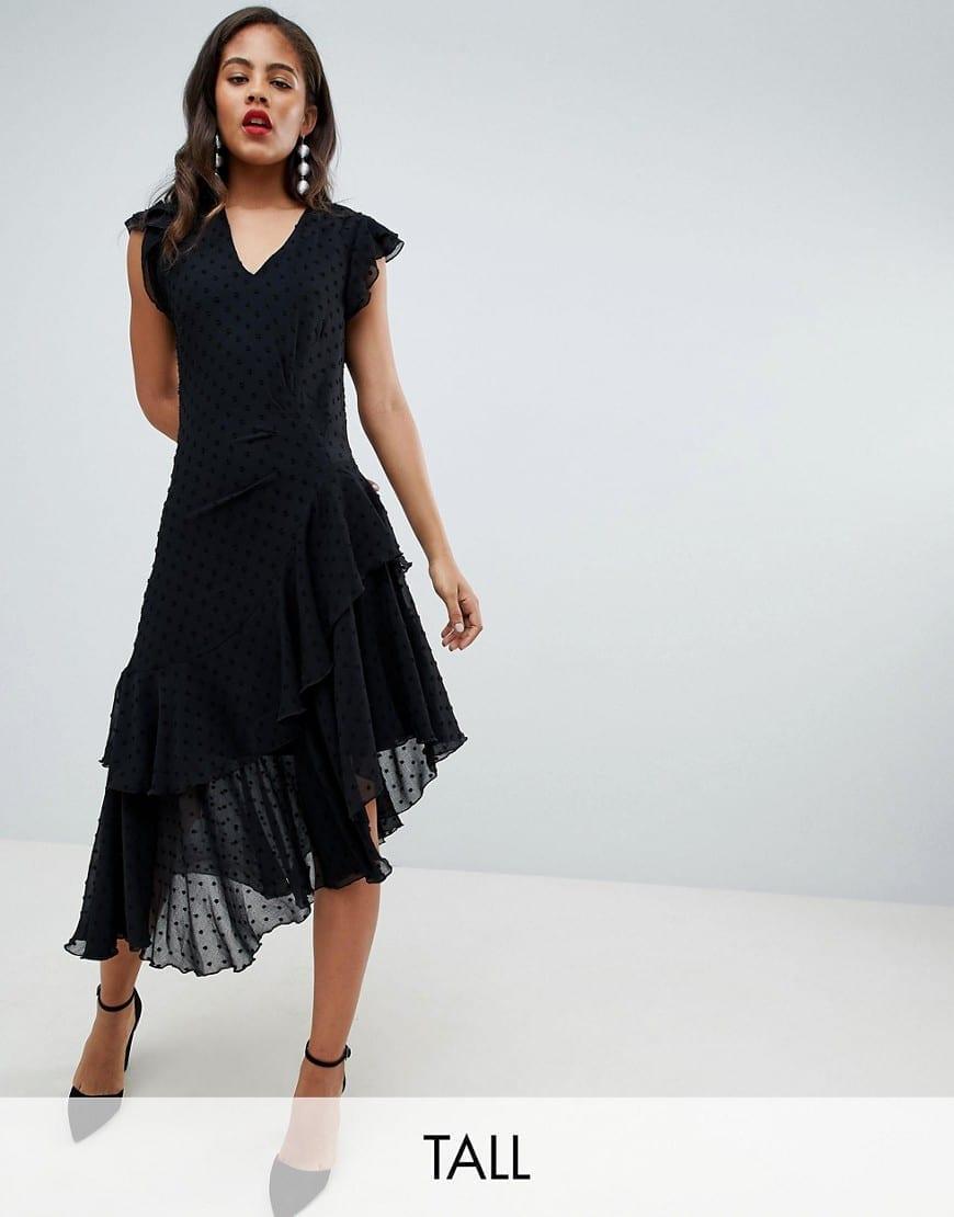 Y.A.S TALL Asymmetric Spot Ruffle Black Dress