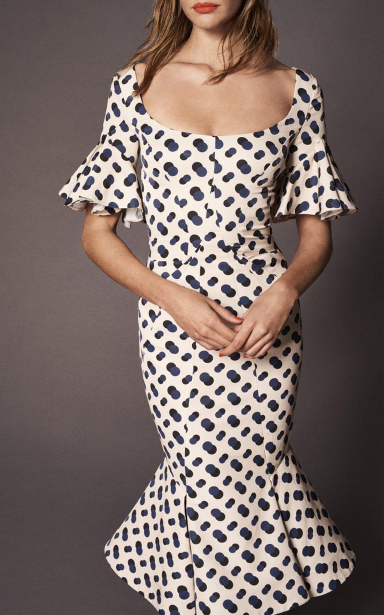 ZAC POSEN Ruffled Sleeve Ivory / Printed Dress