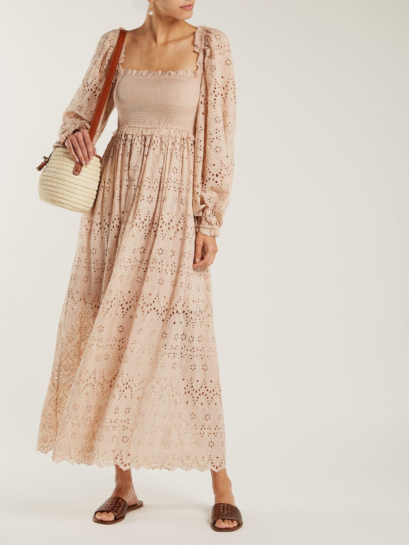 ZIMMERMANN Bayou Blouson Broderie Anglaise Cotton Blend Beige Dress