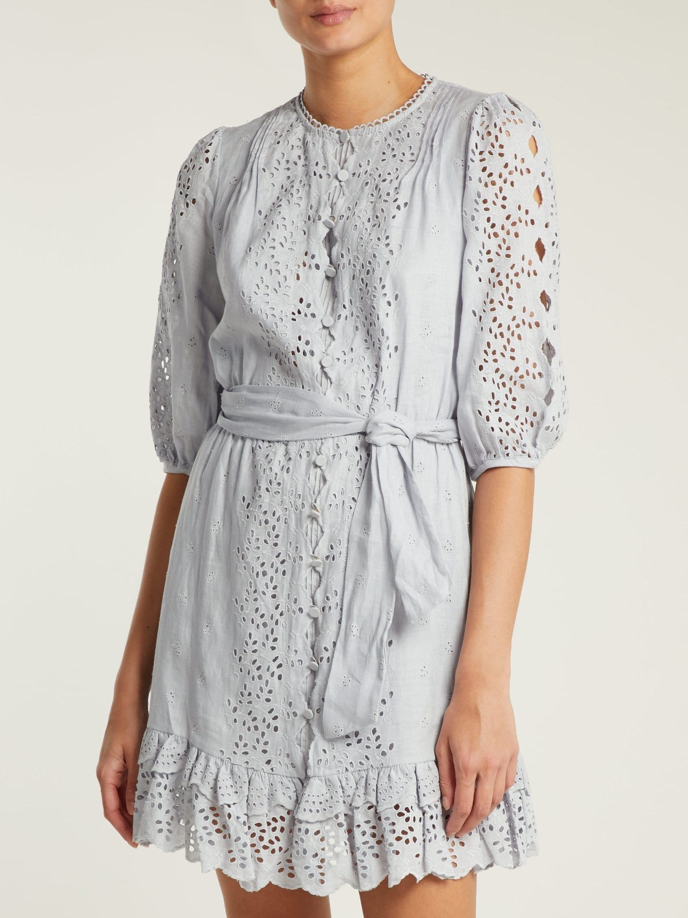 ZIMMERMANN Iris Scallop Lace Linen Light Blue Dress