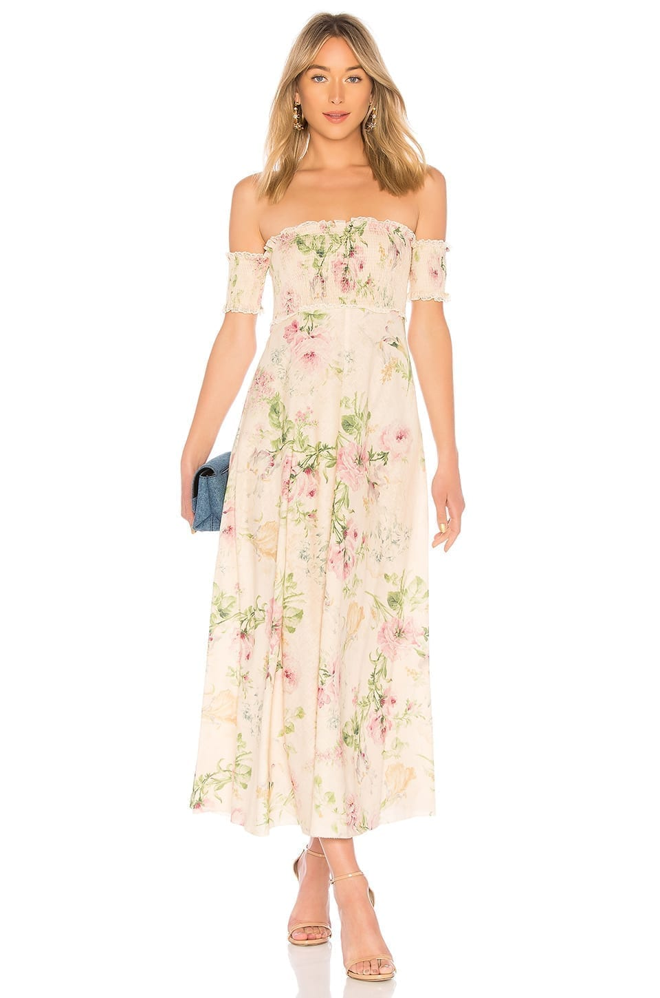 ZIMMERMANN Iris Shirred Bodice Maxi Cream / Floral Printed Dress