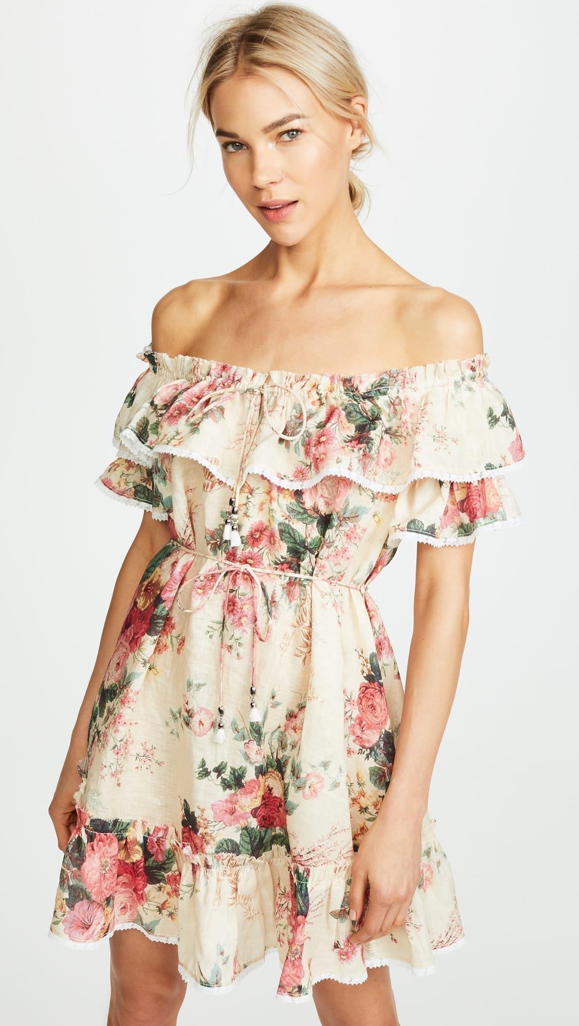 ZIMMERMANN Laelia Frill Tier Short Meadow / Floral Printed Dress