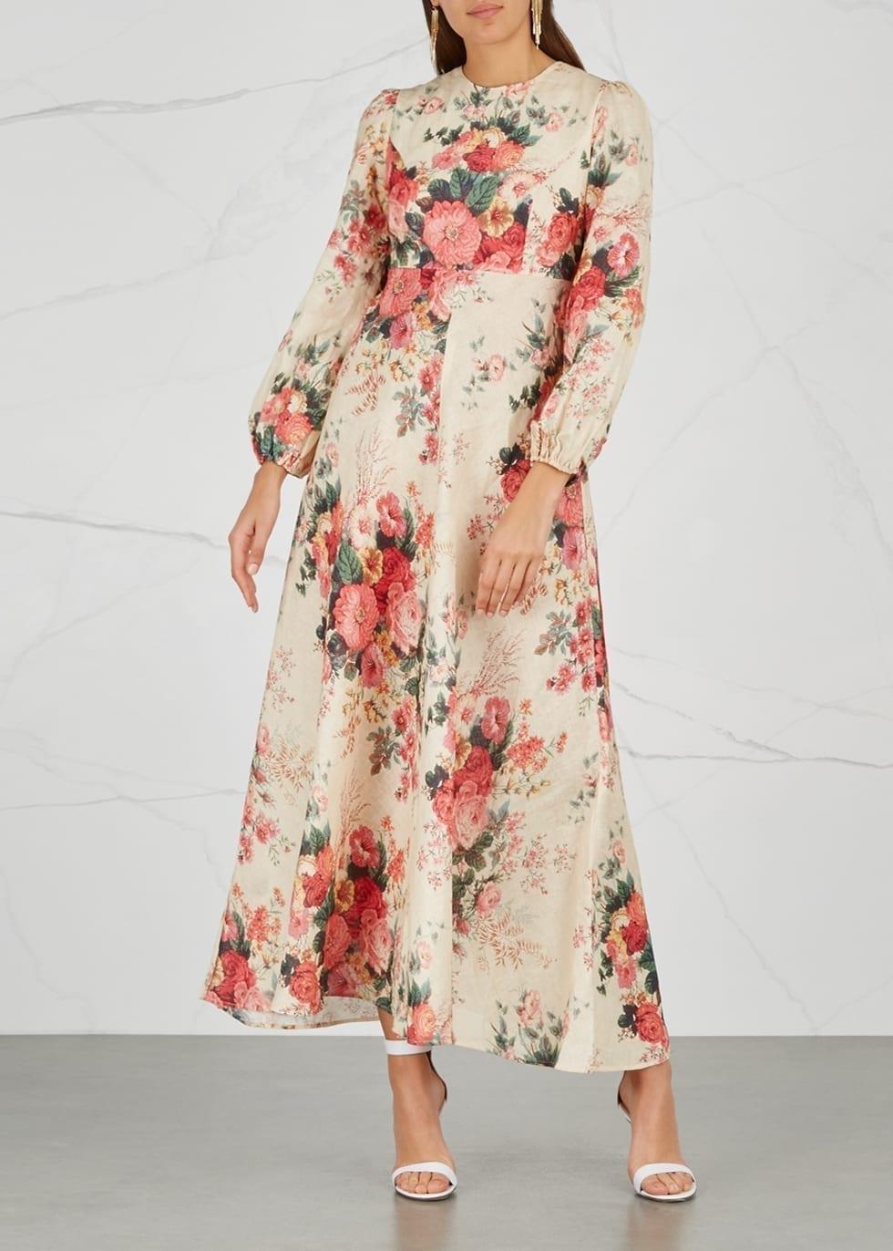 ZIMMERMANN Laelia Linen Cream / Floral Printed Dress