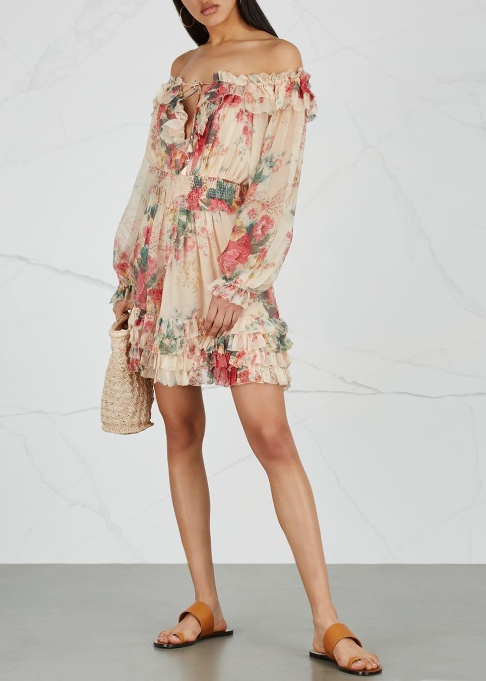 ZIMMERMANN Laelia Meadows Chiffon Floral Printed Dress