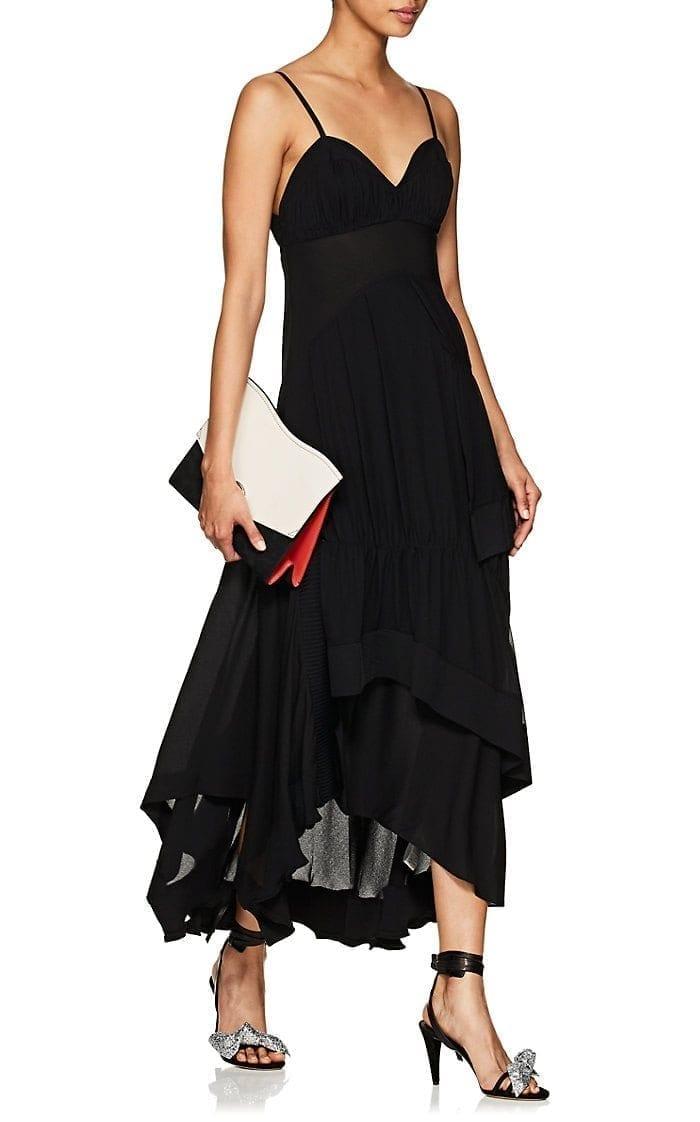 3.1 PHILLIP LIM Ruched Silk Black Dress