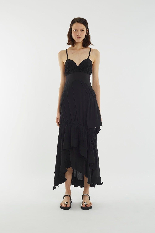 31PHILLIPLIM Layered Ribbed Black Dress
