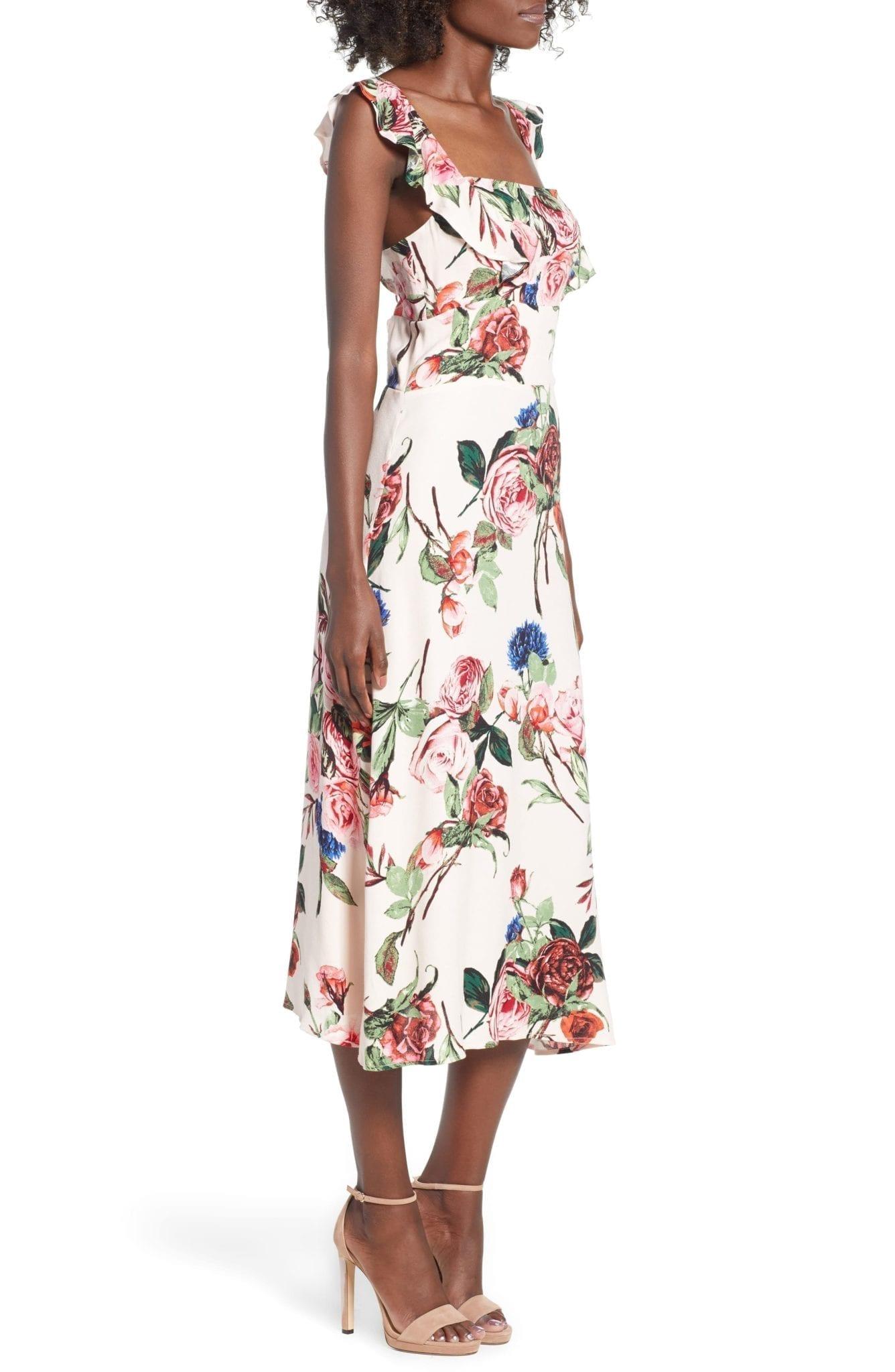 AFRM Haidee Ruffle Midi Beige Garden Dress