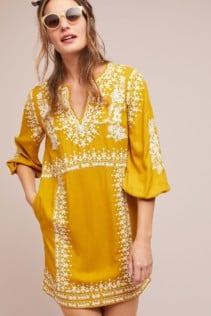 AKEMI + KIN Shiloh Embroidered Tunic Gold Dress