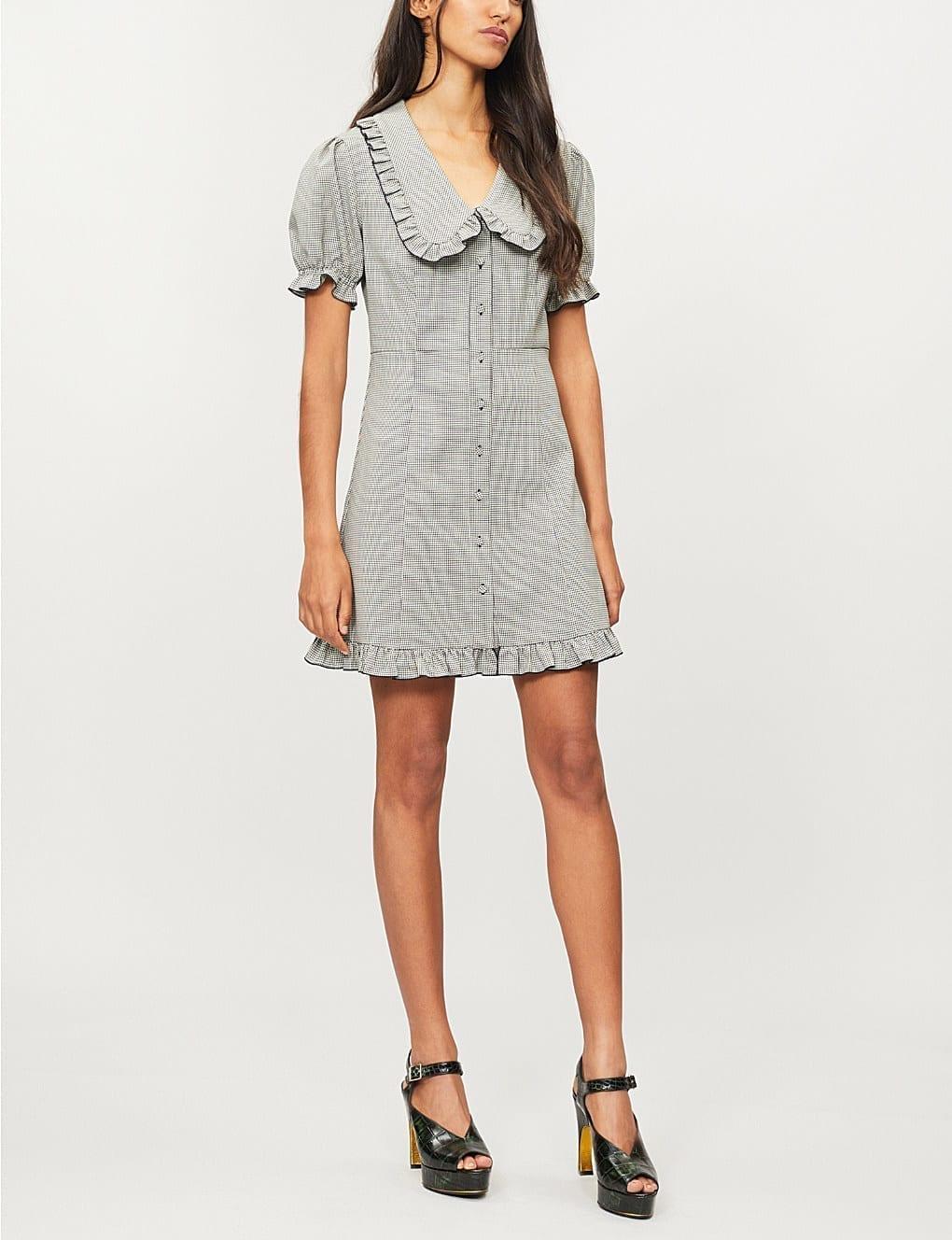 ALEXACHUNG Babydoll Wool Blend Mini Black / White Dress
