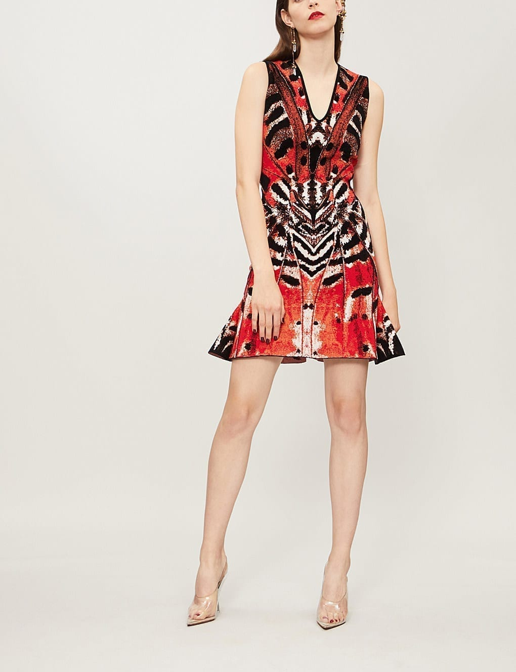 ALEXANDER MCQUEEN Butterfly Jacquard Mini Multicolored Dress