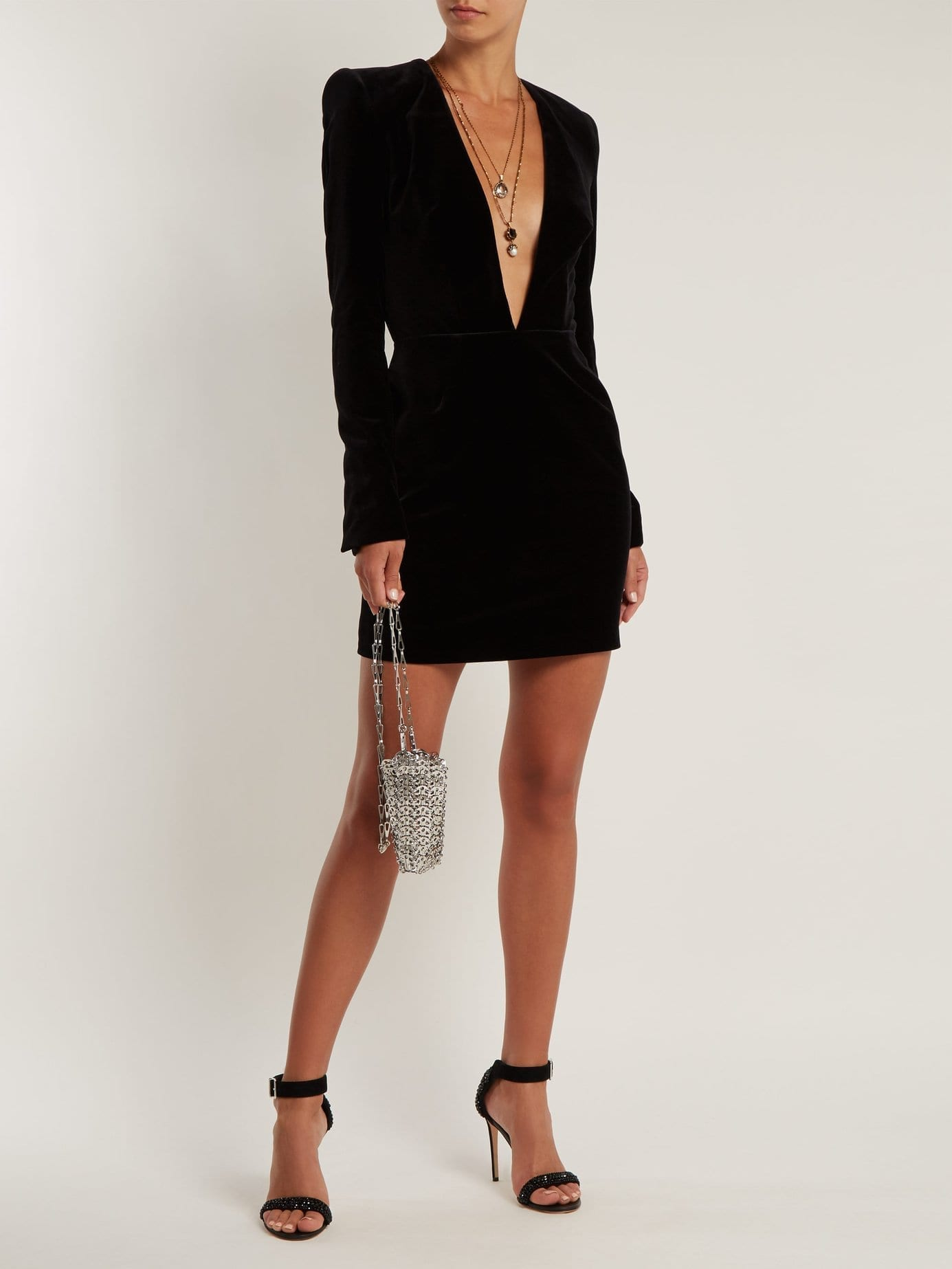 ALEXANDRE VAUTHIER V-neck Velvet Mini Black Dress