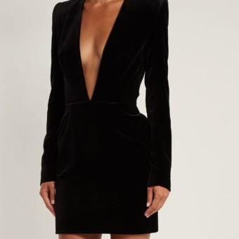 5335c99216 ALEXANDRE VAUTHIER V-neck Velvet Mini Black Dress